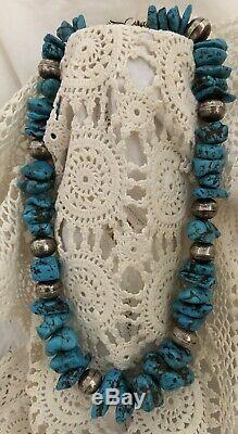 Arizona Castle Dome Turquoise Stones & Silver Bead Necklace 22 L Rare Vintage