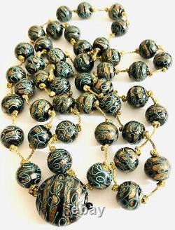 Art Deco Venetian Gold Stone Green And Black Bead Necklace RARE, Long