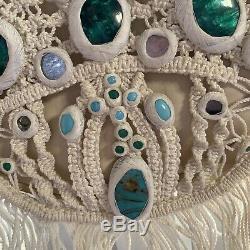 Authentic Chloe Bag Rare Fringed Beaded Gemstone Leather Boho Hippy Rock Chic