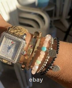 Authentic RARE Return To Tiffany Onyx Heart Tag Bead Bracelet, 7.5 Silver
