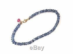 Authentic natural rare kyanite gemstone bracelet solid 18k yellow gold 7