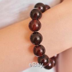 Baltic Amber Bracelet Unique Dark Rare Cherry Beads Luxury Jewellery Elegant