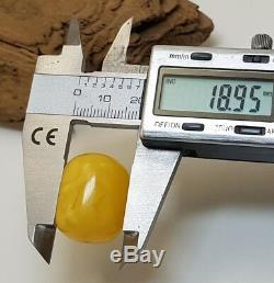 Barrel Stone Amber Natural Baltic Vintage 22,9g Old Vintage Rare Sea White F-096