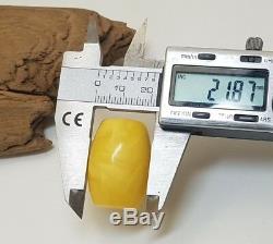 Barrel Stone Amber Natural Baltic White Vintage 31,3g Egg Yolk Rare Sea F-086