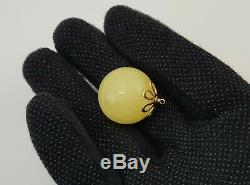 Bead Pendant Stone Amber Natural Baltic White Vintage Sea 9,1g Rare Old A-590