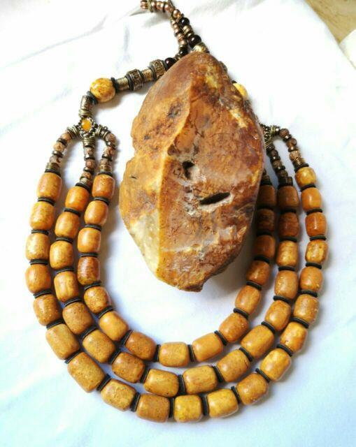 Beads Stone Amber Pressed Natural Baltic White Bead 118g Rare Old Sea Vintage