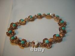 Beautiful Rare Vintage 9ct Rose Gold Natural Turquoise Bracelet-intricate 7.1