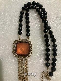 Betsey Johnson Lucite Stone Dangling Chain Necklace Nwot Rare