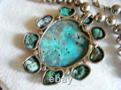 Big Huge! Rare Francisco Gomez Sterling Turquoise Bird Pin Pendant Bead Necklace