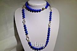 Blue Lapis lazuli Beads 14k Gold Clasp Beards Necklace 150.9 grams 39 10MM RARE