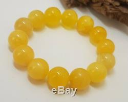 Bracelet Baltic Amber Natural Stone 16,8g Vintage Bead White Old Rare Sea 57