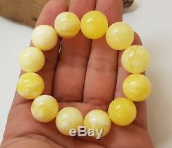 Bracelet Stone Amber Natural Baltic 29,1g Bead 45 Rare Vintage Sea White F-549
