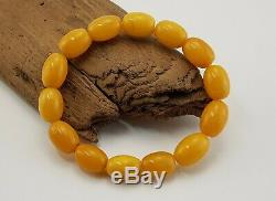Bracelet Stone Amber Natural Baltic Bead 18,2g Barrel Vintage Old Rare Sea A-148