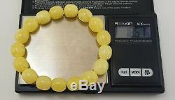 Bracelet Stone Amber Natural Baltic Bead 18,6g White Old Rare Sea Vintage A-204
