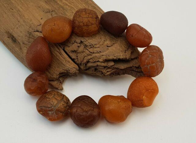 Bracelet Stone Amber Natural Baltic Brain Look Sea Vintage Rare 34,5g Old A-695