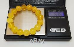 Bracelet Stone Amber Natural Baltic Genuine 15,4g Vintage Rare Bead White F-533