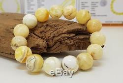 Bracelet Stone Amber Natural Baltic Genuine 15,9g Vintage Rare Bead White F-535