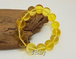 Bracelet Stone Amber Natural Baltic Transparent Bead 21,9g Vintage Rare F-574