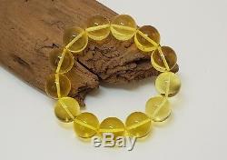 Bracelet Stone Amber Natural Baltic Transparent Bead 23,8g Vintage Rare F-579