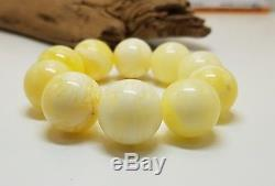 Bracelet Stone Amber Natural Baltic Very White Bead 39,8g Special Rare Old F-296