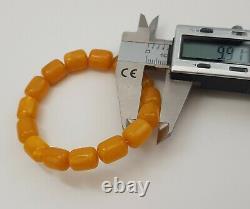 Bracelet Stone Amber Natural Baltic Vintage Bead 14,3g White Rare Sea Old S-133