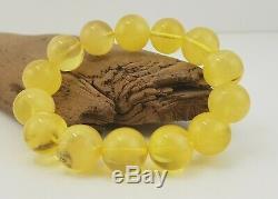 Bracelet Stone Amber Natural Baltic White Bead 31,6g Transparent Rare Old A-465