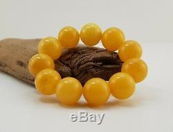Bracelet Stone Amber Natural Baltic White Bead 35,3g Rare Old Sea Vintage A-076