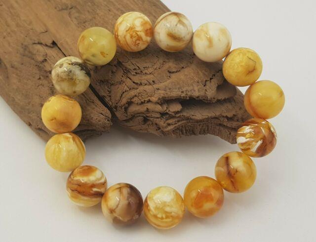 Bracelet Stone Amber Natural Baltic White Bead 59,2g Rare Old Vintage Sea A-467
