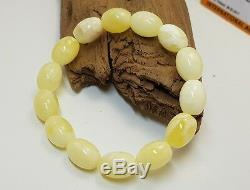 Bracelet Stone Amber Natural Baltic White Olive 15,1g Vintage Rare Sea Old F-187