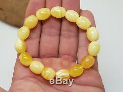 Bracelet Stone Amber Natural Baltic White Olive 16,4g Rare Sea Old Vintage F-195