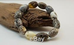 Bracelet Stone Amber Natural Baltic White Vintage 13,1g Rare Special Bead E-366