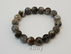 Bracelet Stone Amber Natural Baltic White Vintage 17,1g Blue Rare Sea Bead E-368
