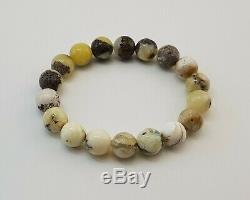 Bracelet Stone Amber Natural Baltic White Vintage 18,1g Rare Special Bead E-364