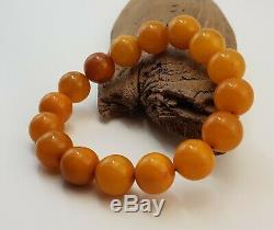 Bracelet Stone Amber Natural Baltic White Vintage 29,1g Rare Special Bead E-361