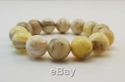 Bracelet Stone Amber Natural Baltic White Vintage 31,1g Rare Special Bead E-374