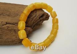 Bracelet Stone Amber Natural Baltic White Vintage Bead 13,1g Rare Special E-239