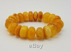 Bracelet Stone Amber Natural Baltic White Vintage Rare Yellow 33,9g Old A-301