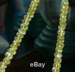 CHRYSOBERYL FACETED BEADS RARE NATURAL LEMON GREEN 18 FULL STRAND 59ctw
