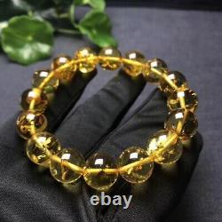 Certificate Natural Piebald Amber Gemstone Round Beads Rare Bracelet 12.2mm AAAA