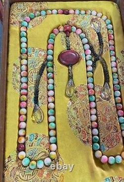 China antique Treasures Qing Dynasty rare 7 colour gem court beads