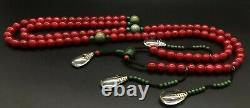 China antique Treasures Qing Dynasty rare red gem court beads