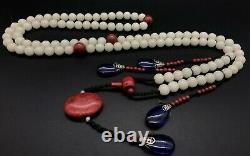 China antique Treasures Qing Dynasty rare white gem court beads