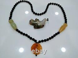 Chinese Nephrite Onyx Necklace and Nephrite 925 Silver Peace Dove Pin Rare Set
