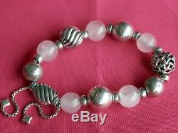 David Yurman Adj. Sterling Silver Rose Quartz Bead Chain Popcorn Bracelet RARE