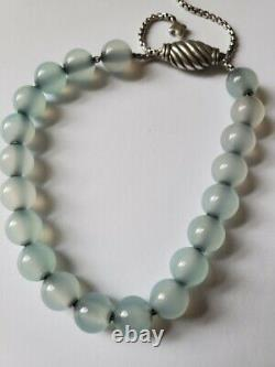 David Yurman Chalcedony Spiritual Bead Bracelet RARE Sterling Silver Adjustable
