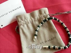 David Yurman NEW Black/Silver Faceted Hex Bead Bracelet 8.5 Long RARE $600+