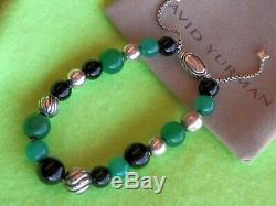 David Yurman RARE SSilver Elements Beads Bracelet Onyx Malachite Jadeite