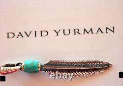 David Yurman Sterling Silver Frontier Feather with Turquoise Bead Pendant RARE