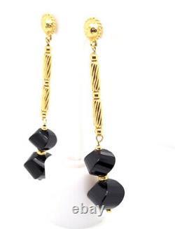 Designer $1100 Rare 18K Yellow Gold David Yurman Onyx & Twist Bead Drop Earrings