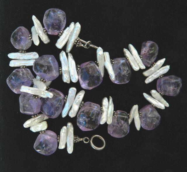 Designer Rare Large Amethyst Nuggets Stick Pearl Beaded Sterling Necklace 15.5